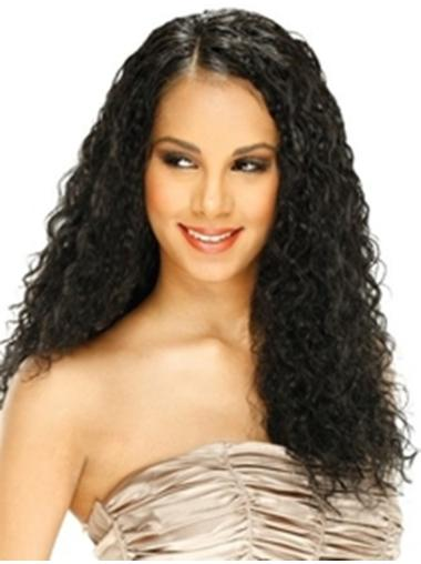 Curly Black Without Bangs Full Lace Long Comfortable Remy Human Hair Wigs