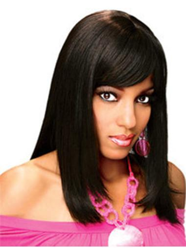 Straight Black With Bangs Full Lace Shoulder Length Designed Remy Human Hair Wigs