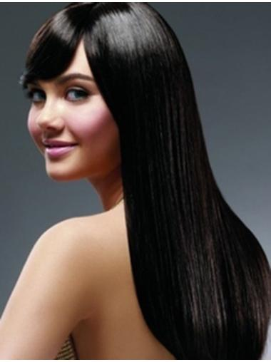 Straight Black With Bangs Full Lace Long Discount Remy Human Hair Wigs