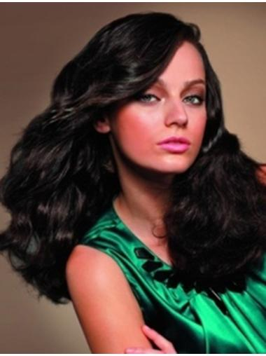 Wavy Black With Bangs Full Lace Long Durable Remy Human Hair Wigs