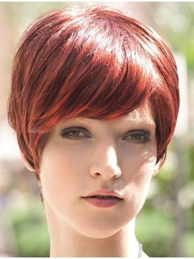 Straight Red Boycuts Short Good Synthetic Wigs