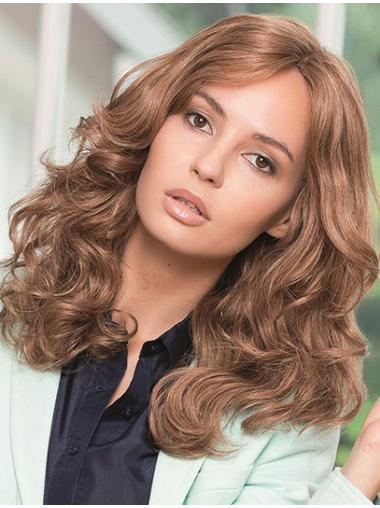 Wavy Brown Without Bangs Full Lace Long Cheapest Remy Human Hair Wigs
