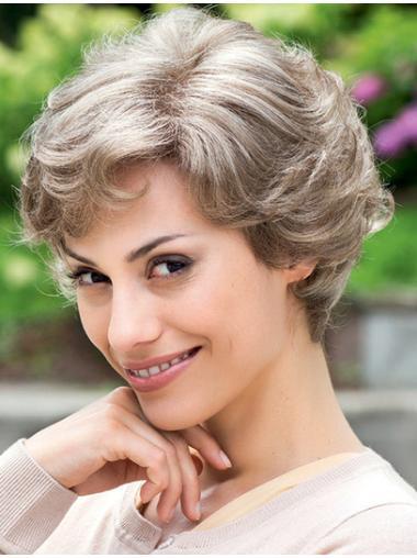 Wavy Grey 100% Hand-tied Short Flexibility Synthetic Wigs