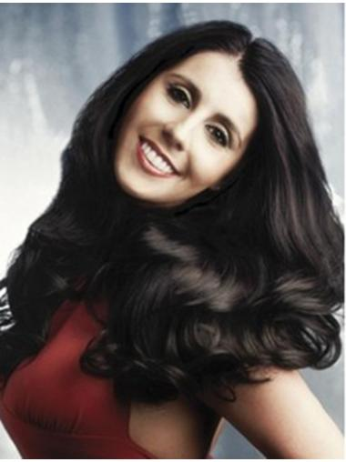 Wavy Black Without Bangs Full Lace Long Great Remy Human Hair Wigs