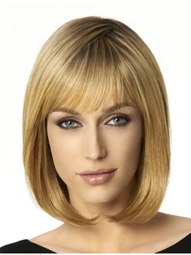 Modern Capless Blonde Medium Wigs