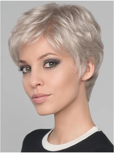 "4"" Wavy Platinum Blonde Monofilament Boycuts Short Wigs"
