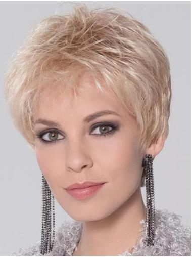 """Synthetic Straight 4"""" Blonde Boycuts Monofilament Wigs For Women"""
