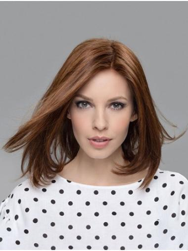 Straight Brown 100% Hand-tied Without Bangs Remy Human Hair Medium Wig