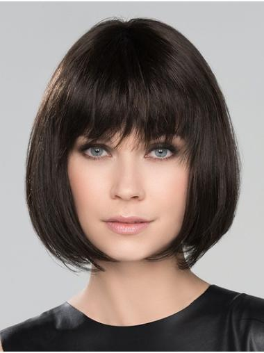 """Monofilament Chin Length 10"""" Black With Bangs High Quality Synthetic Wigs"""