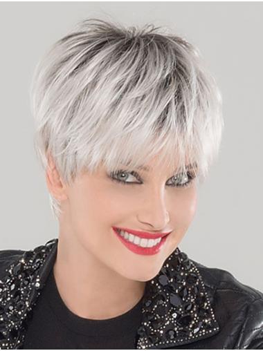 "Synthetic Straight 6"" Platinum Blonde Boycuts Ladies Monofilament Wigs"