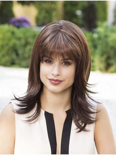 Straight Brown Capless With Bangs Synthetic Medium Wig For Women