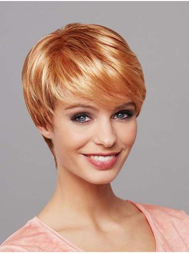 "Synthetic Straight 8"" Blonde Boycuts Mono Wig"