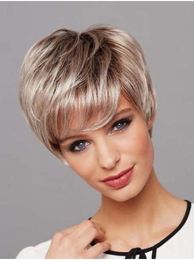 """Short 8"""" Layered Platinum Blonde Straight Wigs Lace Front"""