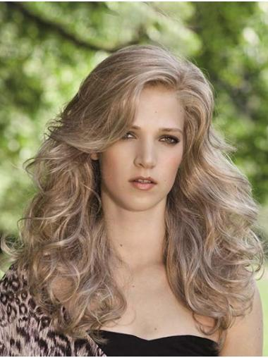 Curly Blonde Monofilament Layered Synthetic Long Wigs