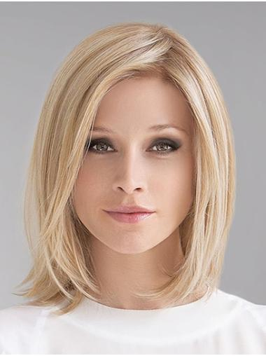 Blonde Shoulder Length 100% Hand-tied Straight Remy Human Hair Bob Wig