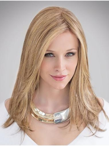 "100% Hand-tied 14"" Long Straight Blonde Real Human Hair Wig"