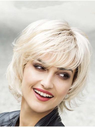 Wavy Platinum Blonde Capless Layered Synthetic Medium Wigs Women