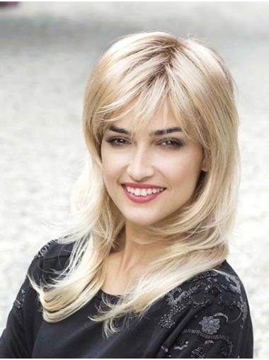 Straight Blonde Capless With Bangs Synthetic Cheap Long Wigs For Women