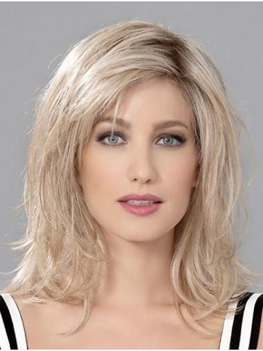 "Monofilament 12"" Shoulder Length Wavy Blonde Human Hair Wigs Cheap"