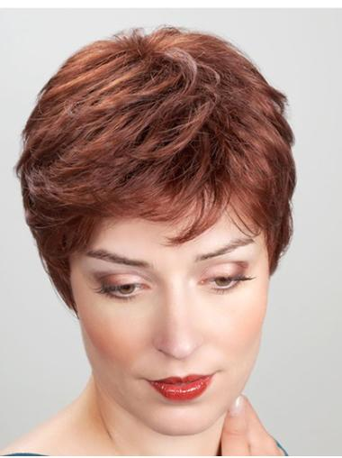 """Synthetic Straight 8"""" Copper Boycuts Monofilament Heat Resistant Wigs"""