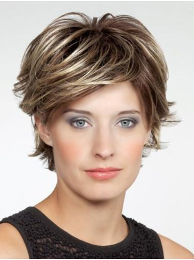 """Monofilament Chin Length 10"""" Brown Layered Very Cheap Synthetic Wigs"""