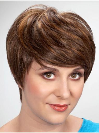 "Monofilament Short 8"" Brown With Bangs Synthetic Wig"
