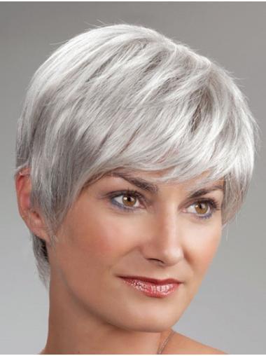 "8"" Monofilament Short Grey Boycuts Best Wigs For Elderly Lady"