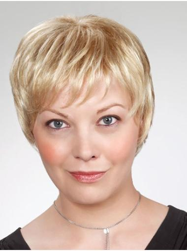 """Monofilament Short 8"""" Blonde Layered Cheap Synthetic Wigs"""