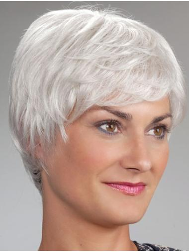 "8"" Monofilament Short Grey Classic Wigs For Elderly Lady"