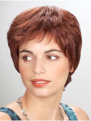 "Synthetic Straight 8"" Auburn Layered Cheap Mono Wigs"