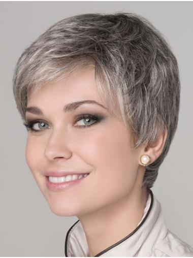 """Synthetic Straight 8"""" Grey Layered Monotop Wigs"""