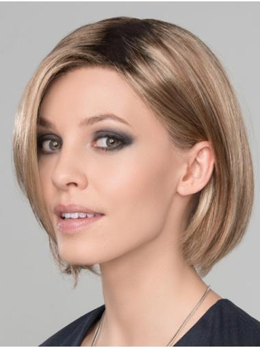 """Synthetic Straight 10"""" Blonde Bobs Ready To Wear Monofilament Wigs"""