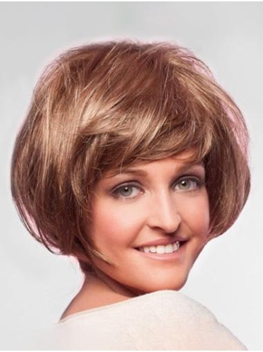 Blonde Chin Length Monofilament Straight Synthetic Short Bob Hairstyles