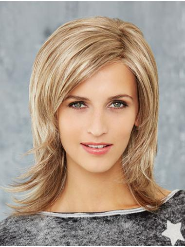 """Synthetic Straight 14"""" Blonde Layered Newest Mono Wigs"""