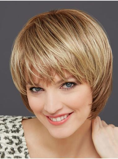 Blonde Chin Length Monofilament Straight Synthetic White Bob Wig