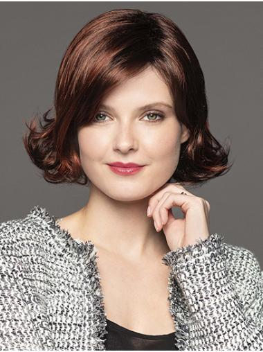 Brown Chin Length Capless Wavy Synthetic Classic Lady Wig