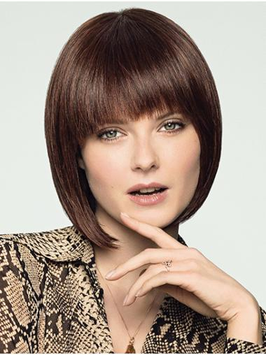 Brown Chin Length 100% Hand-tied Straight Remy Human Hair Bob Style Wig