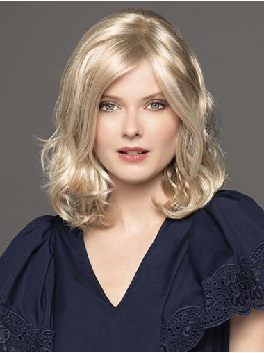 """Synthetic Curly 14"""" Platinum Blonde Without Bangs The Best Monofilament Wigs"""