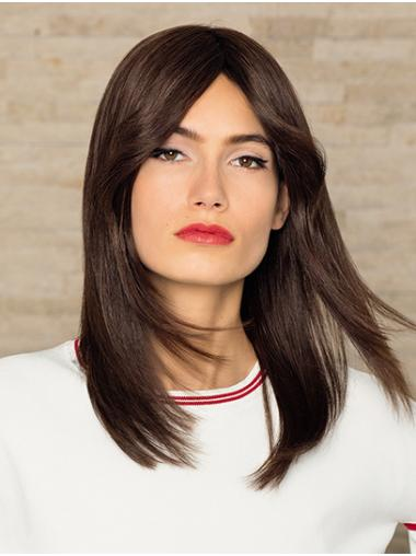 """100% Hand-tied 14"""" Shoulder Length Straight Brown Wigs Human Hair"""