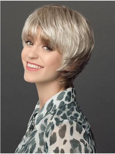 "Capless Short 8"" Platinum Blonde Layered Synthetic Wigs Women"