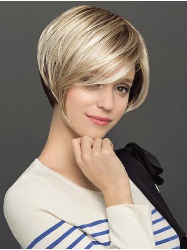 Platinum Blonde Short Capless Straight Synthetic Ladies Bob Wigs