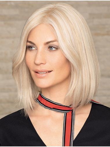 "Monofilament 12"" Shoulder Length Straight Platinum Blonde Human Hair Wigs For Women"