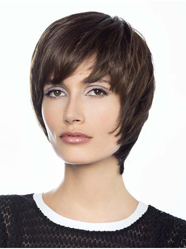 "Monofilament 8"" Short Straight Brown Human Hair Wig"
