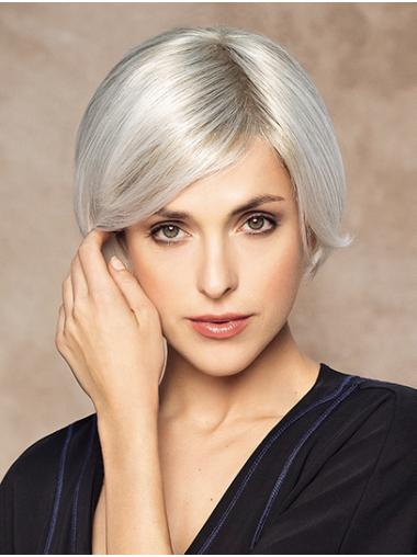 "Monofilament 8"" Short Straight Platinum Blonde 100 Human Hair Wigs"