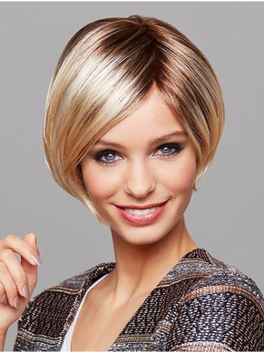 "Monofilament 8"" Short Straight Ombre/2 Tone Real Human Hair Wigs"