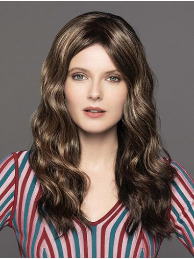 Wavy Brown Monofilament Without Bangs Synthetic Long Wig