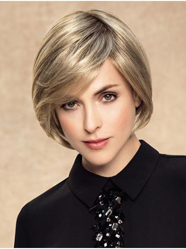 Blonde Chin Length Monofilament Straight Synthetic Bob Wigs For Sale