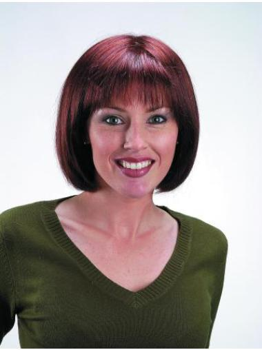 Red Hairstyles Capless Mono Top Bob Wigs