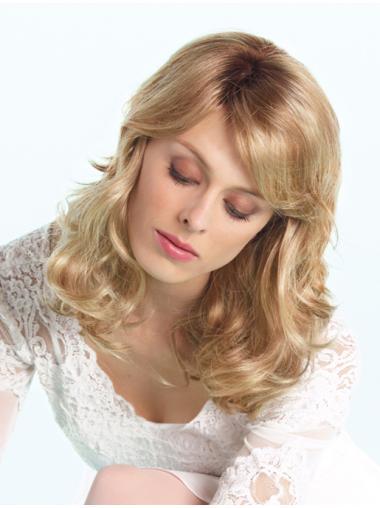 With Bangs Blonde Sleek Long Wigs