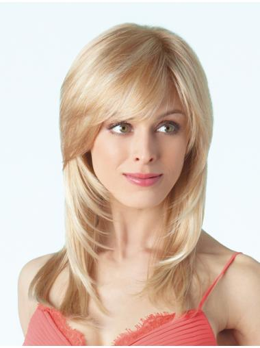 With Bangs Blonde Straight Long Wigs